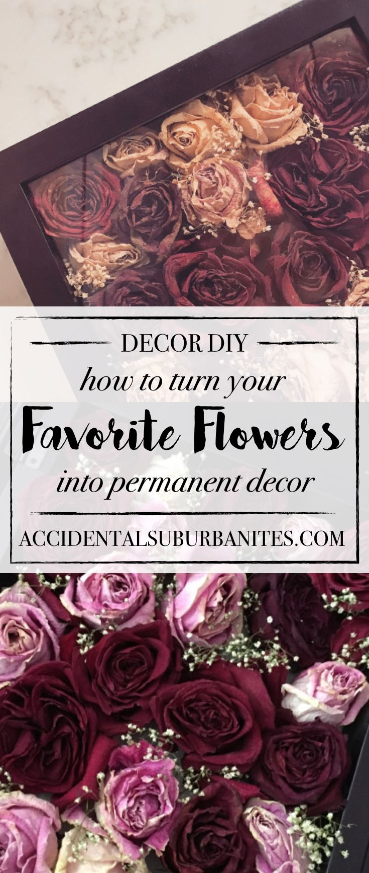 DIY dried roses in a shadow box - preserve roses! want to turn a meaningful bouquet into long-lasting home decor? Here's how to dry and preserve your favorite flowers and display them in a shadow box!