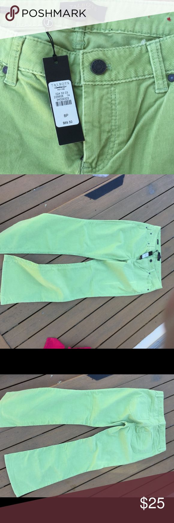 NWT 8p Talbots lime green corduroy pants New with tags's Talbots size 8 petite limegreen corduroy pants! Talbots Pants Boot Cut & Flare
