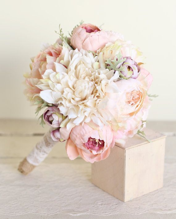 Silk Bridal Bouquet Pink Peonies Dusty Miller Garden Rustic Chic Wedding NEW…