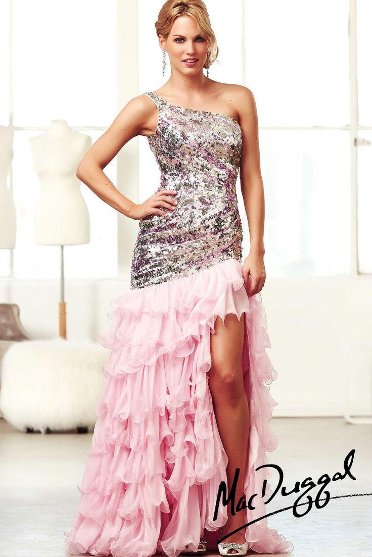 New MAC DUGGAL 85125 Ice Pink Silver Sequined Mermaid Pageant Prom Evening Dress