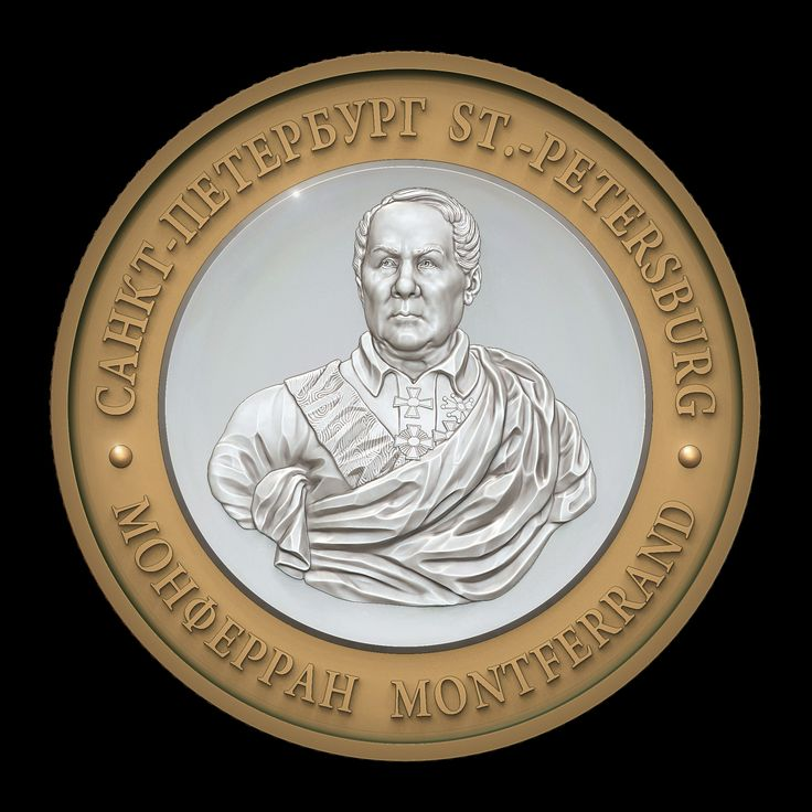 Henri Louis Auguste Ricard de Montferrand (1786-1858). Architect, builder of St. Isaac's Cathedral in St. Petersburg. Commemorative medal. Avers. The model for CNC milling machine. Private Order. D = 24mm. Programs MoI, ZBrush.
