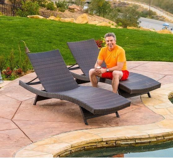 patio deck brown wicker pool chaise lounge outdoor recliner set furniture garden outdoorrecliner brown set patio source outdoor