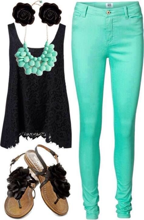 mint colored denim + black + statement necklace