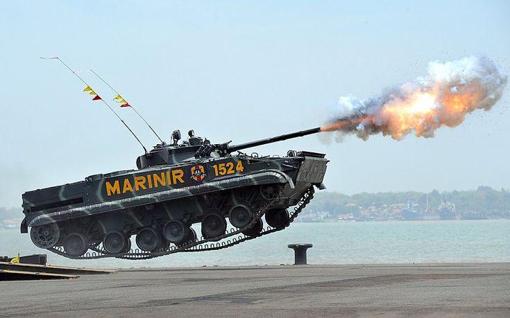 The 69th Republic of Indonesia Military Anniversary...SURABAYA, INDONESIA - OCTOBER 07: