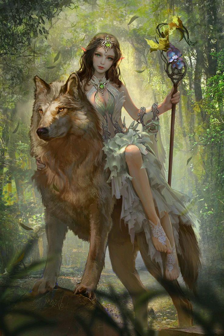 Fantasy Elf and Wolf Wallpaper iPhone – Michel Thiry