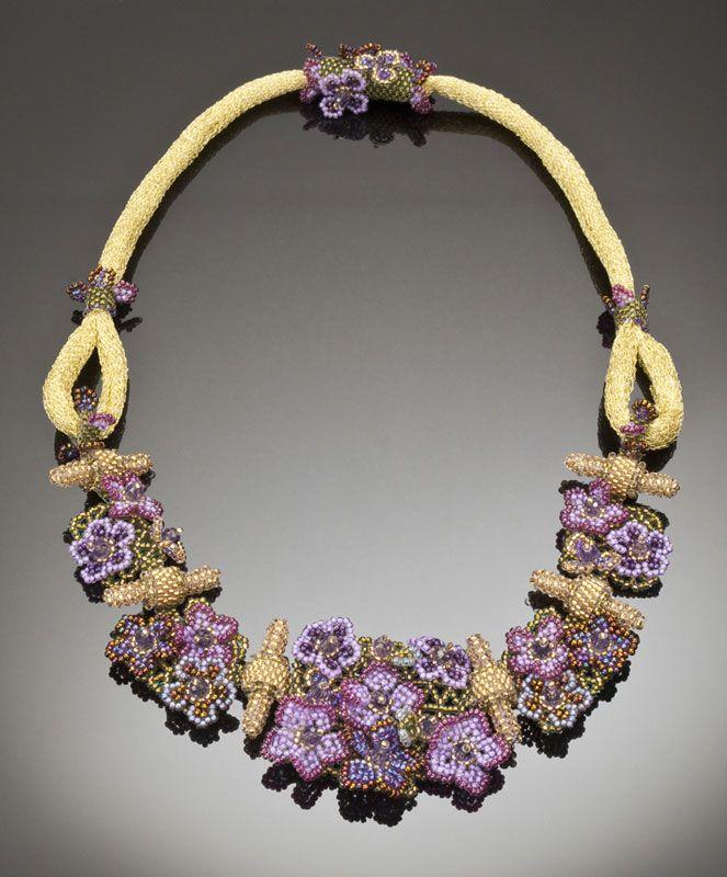 Beautiful Purple Flowers - Beaded Necklace