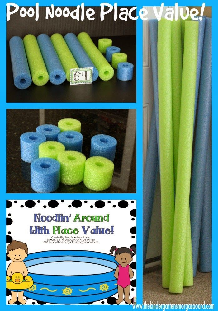 Use pool noodles as place value manipulatives ~ Love this free idea!