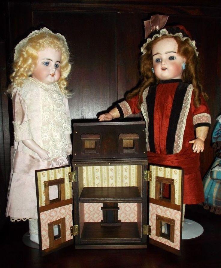 Manwaring style mini wood dollshouse, Toy for your antique dolls, all handmade