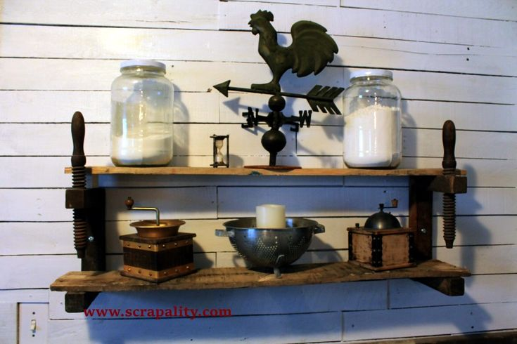 Shelves Made From Old Wooden Clamps and Pallet Wood
