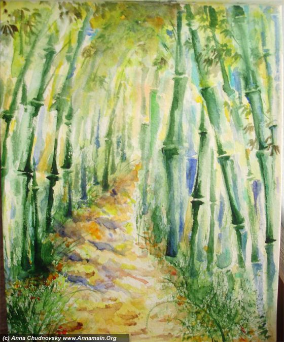 Bamboo and sun by Anna Chudnovsky - step by step pictures.