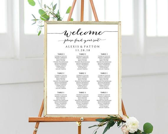 White Editable pdf Wedding Seating Chart INSTANT DOWNLOAD Find Your Seat MELODY Wedding Welcome Sign Seating Chart Landscape