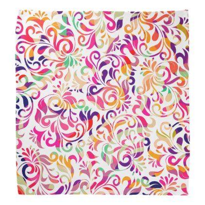 cute classic colorful flowers pattern bandana pattern sample