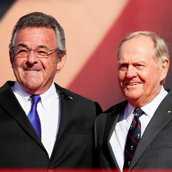 Former Ryder Cup captains Tony Jacklin of Europe and Jack Nicklaus of the United States speak during the 2016 Ryder Cup Opening Ceremony at Hazeltine National Golf Club.