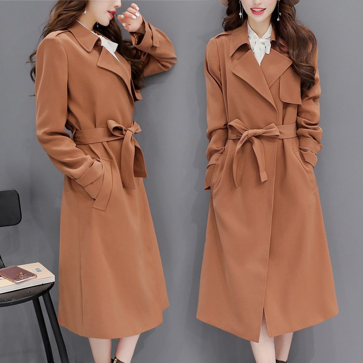 Turn-down Collar Slim Pure Color Long Wool Coat