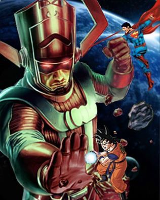 #Superman and #goku vs #galactus . Of course #Batman can solo all three but that's not the point.