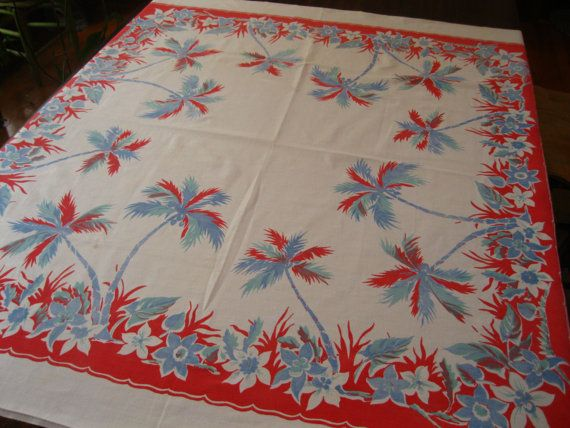 Vintage tropical tablecloth with palm trees and by 3floridagirls, $60.00