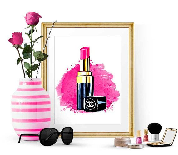 Chanel fashion print Hot Pink Lipstic Poster by GypseeArt
