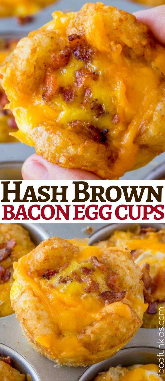 Hash Brown Egg Cups made in just five minutes with tater tots, eggs, cheese and bacon in the oven. Breakfast prep made easy! via @foodfunkids