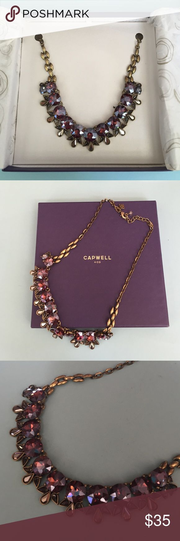 Capwell necklace Beautiful costume necklace from Birchbox!  Shiny purple stones with 3 teardrop stones attached to each. Bronze chain that is adjustable. Measures 21 inches total. About 10 inches to chest. capwell & co Jewelry Necklaces