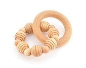Wooden Teething Ring - Waldorf Grasping Teething Toy - Montessori Inspired Organic Baby Toy