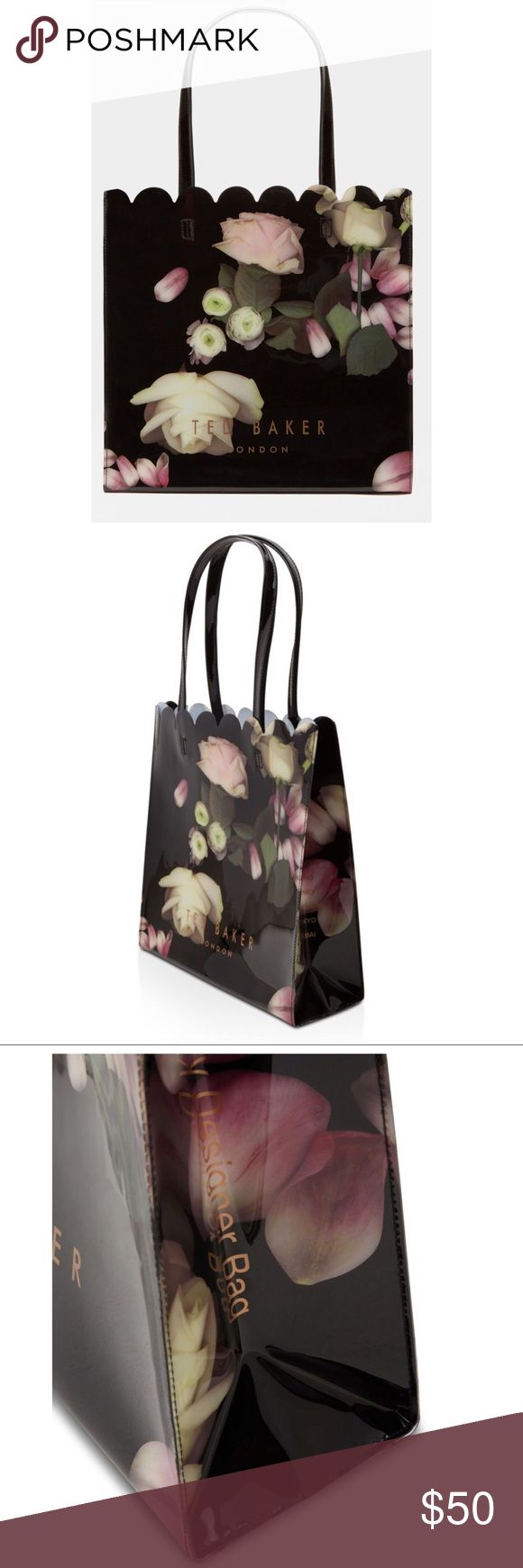 NWT Ted Baker Large Kensington Tote New with tags.  -Ted Baker accessories collection -Kensington Floral print -Scalloped trim -Two top handles -Ted Baker-branded -Dimensions: H34.5cm x W34.5cm x D13cm -Handle Drop: 22cm -Care & Fabric: -Fabric Content:  100% Polyvinyl chloride -Care information: Do not wash, iron or dry clean Ted Baker London Bags Totes