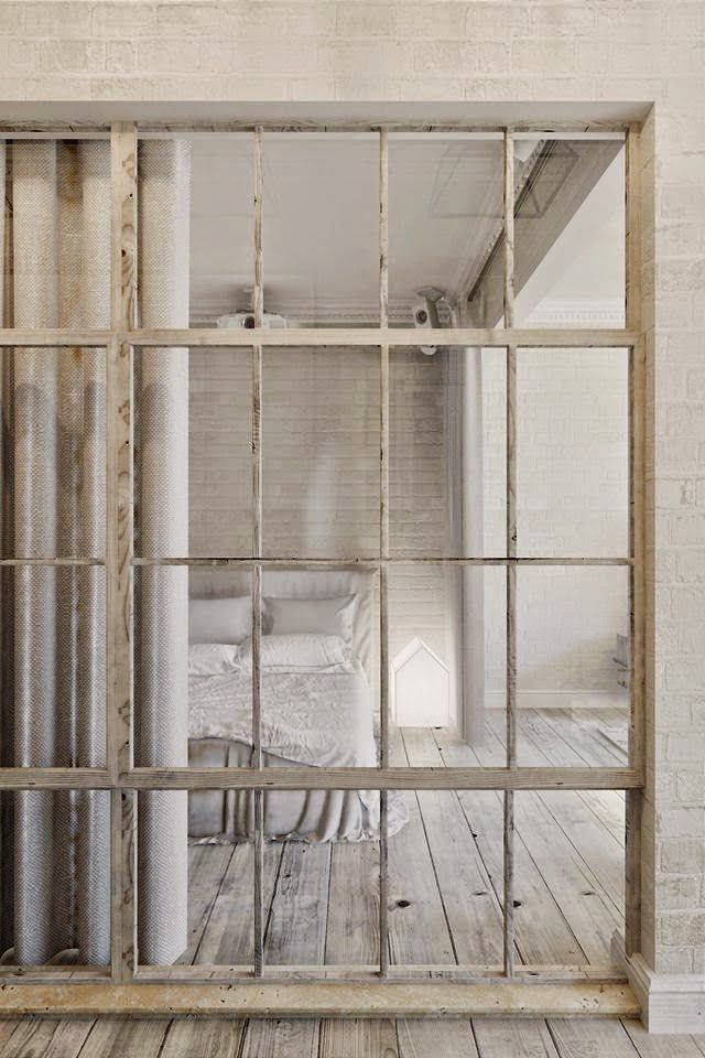"""Natural Studio - """"what a beautiful little flat in Prague, with all natural tones, open plane, and wonderful material ... special crush for the separation window in the bedroom !!!"""" - bedroom - photos : mechantdesign --- i'm in Love! ~cm #2"""
