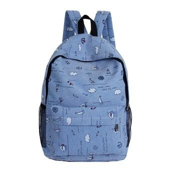 Women's Canvas Fashion Printed Charm Color Backpack Blue (EXPORT)(Intl)