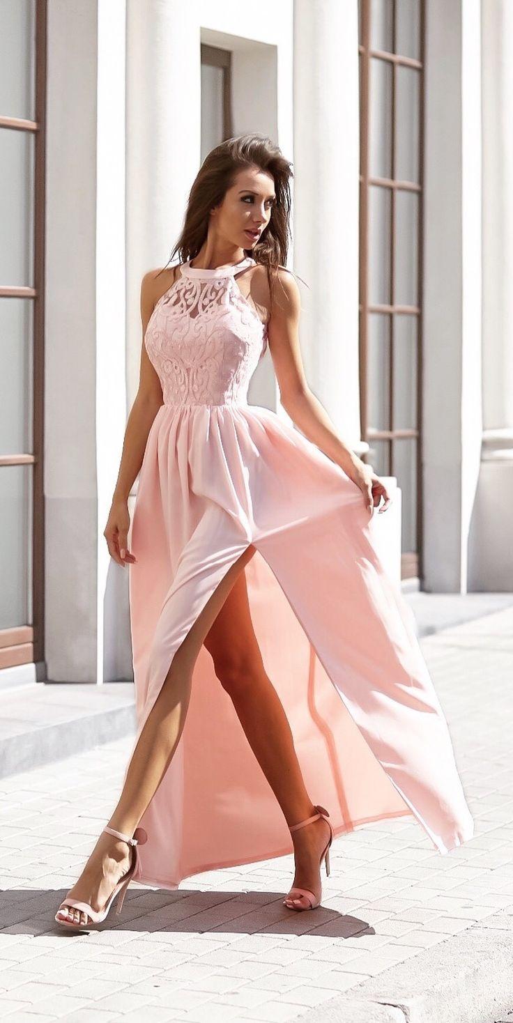 Maxidress Olivia pudrowy róż. Piękna sukienka dla świadkowej druhny na ślub   Made of honor dress