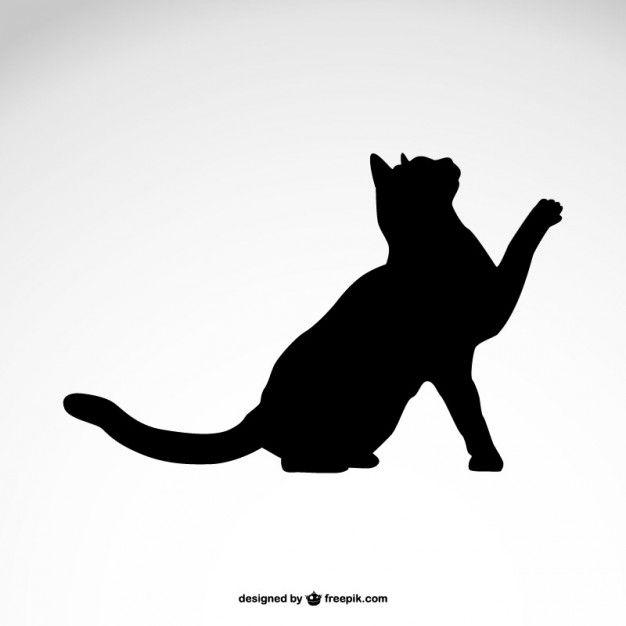 Noire silhouette de chat vecteur libre