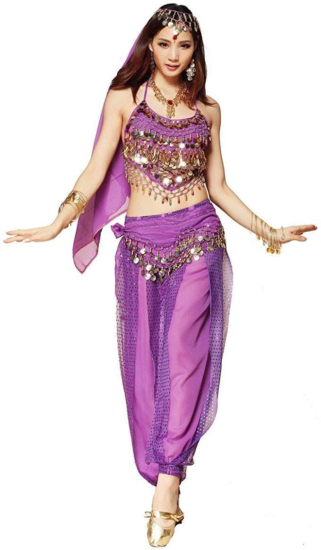 Bauchtanz-Kost/üm f/ür Damen von Best Dance bestehend aus Oberteil mit Perlen und Gl/öckchen Haremshose und einem H/üfttuch.