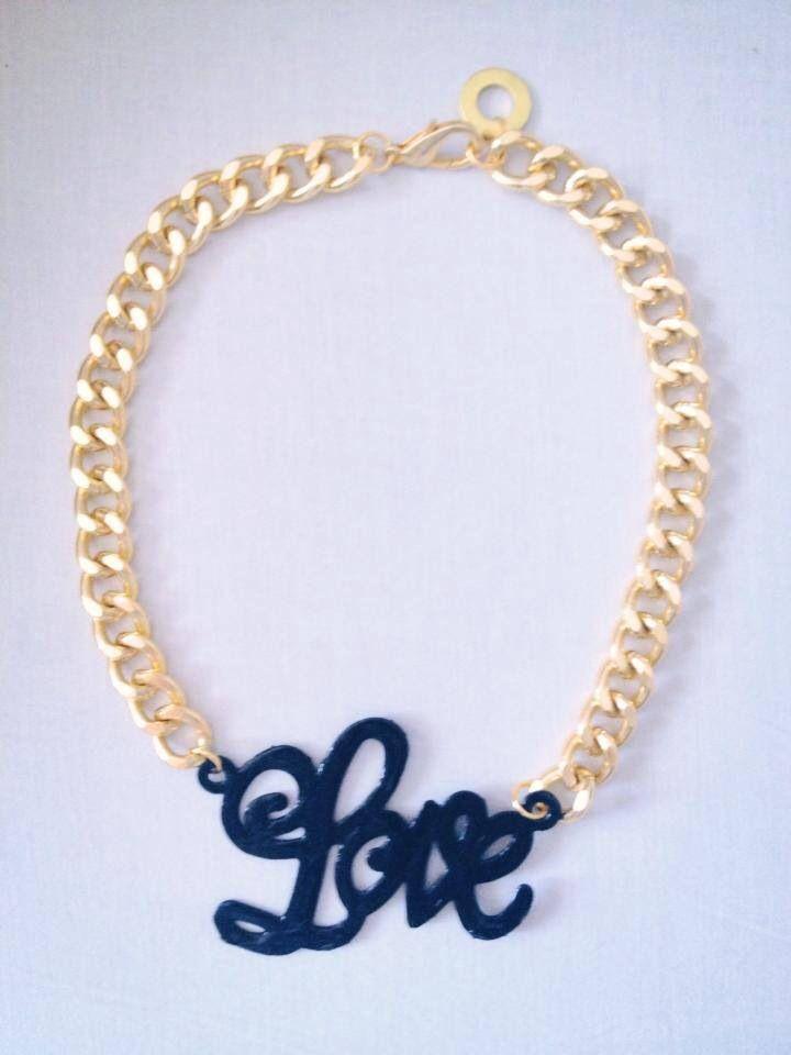 """Κολιέ """"LOVE"""" από χρυσή (επιχρυσωμένη) αλυσίδα! Έτοιμο για αποστολή!! INBOX ή email για πληροφορίες και παραγγελίες! / The """"LOVE"""" gold pleated necklace! Ready to be shipped!  www.thefthing.com"""