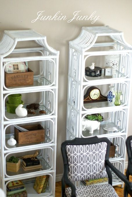 Spray Painted Rattan Bookcases They Were Dark Brown And