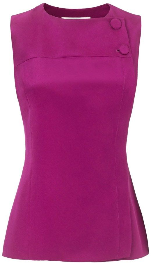 Barbara Casasola Dark Magenta Cady Buttoned Tank on shopstyle.com