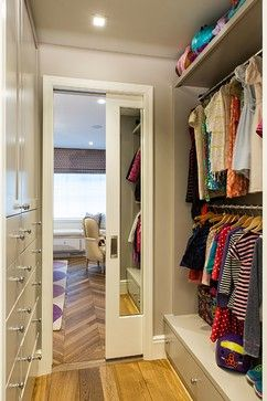 Walk Through Closet. Smart Pocket Door With Mirror