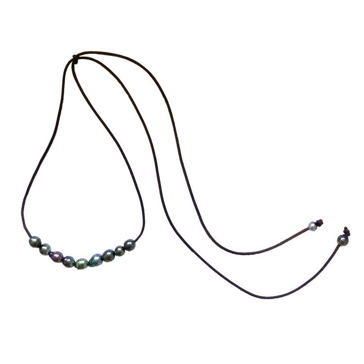 eleven 10-12 mm Tahitian pearls (varying sizes, shapes, colors); weathered chocolate leather