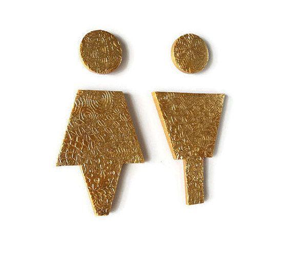 Gold Bathroom Male Female signs  https://www.etsy.com/ca/listing/285667571/gold-bathroom-male-female-sign-gold
