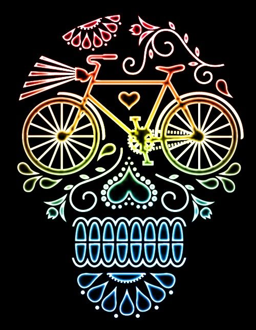 Sugar skull cycling image. The only skull I have wanted to ever look at!