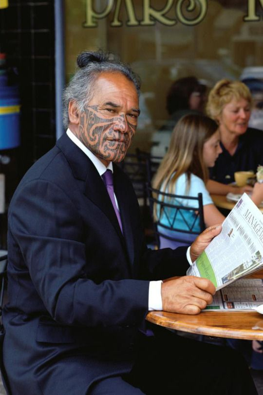 The native Maori people of New Zealand have tattooed their faces for centuries. They had a complex warrior culture before the arrival of Europeans, and suffered under early colonialism, but have experienced a cultural revival since the 60′s. The marks are called moko, and are etched with chisels instead of needles to leave grooves along with the ink. The true form is sacred, unique to each person, and distinct from European tattoos that mimic that traditional style.
