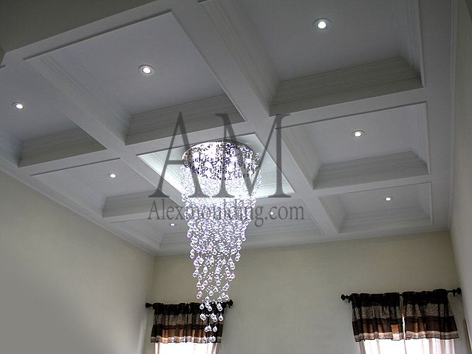 coffer lighting. waffle ceiling with a chandelier in middle coffered and ceilings pinterest waffles coffer lighting