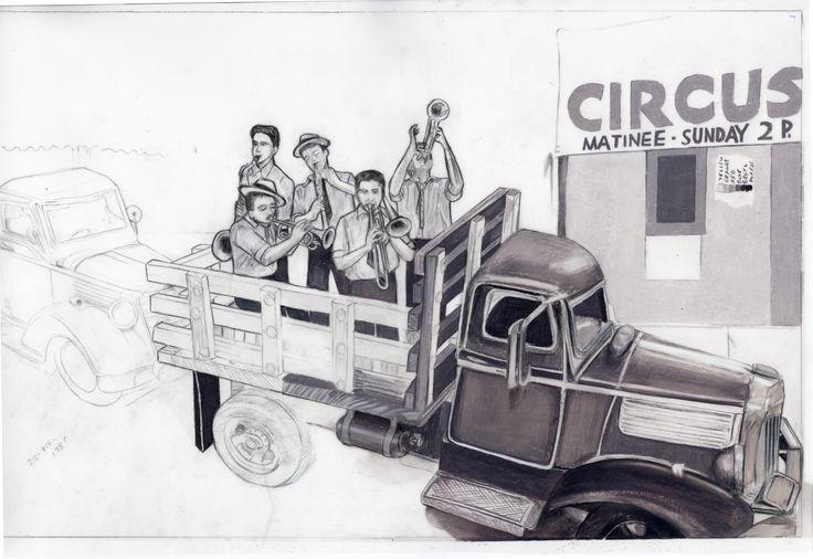 "Carolyn Dee Flores - Partial Sketch Study (Pencil) for THE CIRCUS - ""Musicians"""