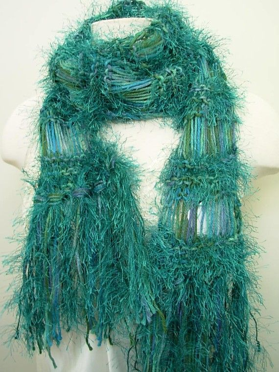 Hand Knit Peacock Blue and Green Knitted Scarf by seahorsedesigns