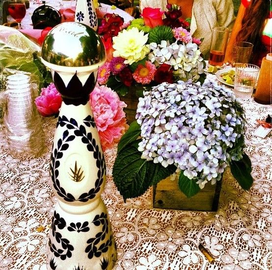 clase azul, hydrangeas, peonies, wood vase, tequila, lace, bridal shower