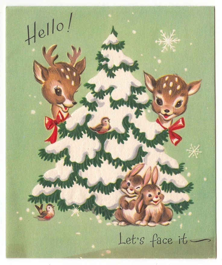 """Vintage Greeting Card Christmas Cute Animals Deer Reindeer Bunny Rabbits FOR SALE • $6.50 • See Photos!  Vintage Greeting Card Used/Signed Toning on the front, at the bottom Clean back 5.75"""" x 4.75"""" See my other listings for more Vintage Greeting Cards I am happy to combine 391926795618"""