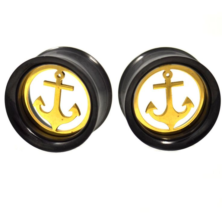 "BodyDazz.com - Removable Anchor Black & Gold Steel Tunnels (00g-1"")"