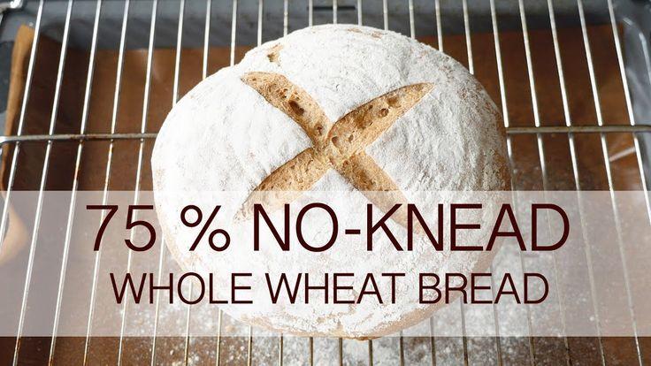No-knead 75% whole wheat bread recipe