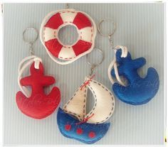 Nautical felt key fobs (would be adorable on a baby mobile)