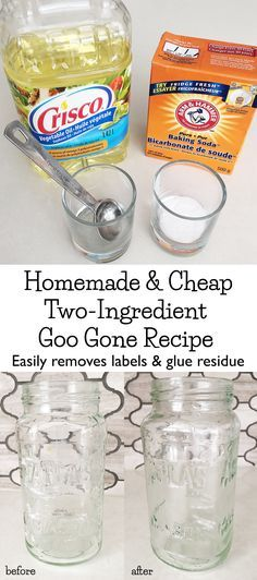 This is AMAZING! DIY this homemade Goo Gone with two ingredients you already have in your home to easily remove labels and glue residue from ANYTHING!