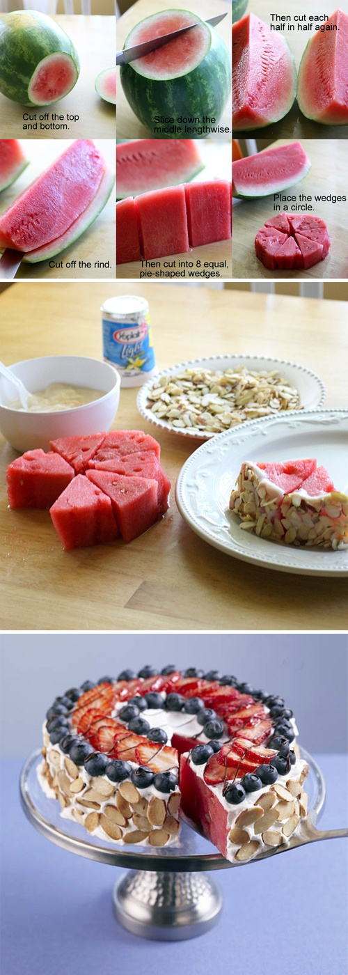 Red, White & Blue Watermelon Almond Tart recipe, MEMORIAL DAY treats #summer…