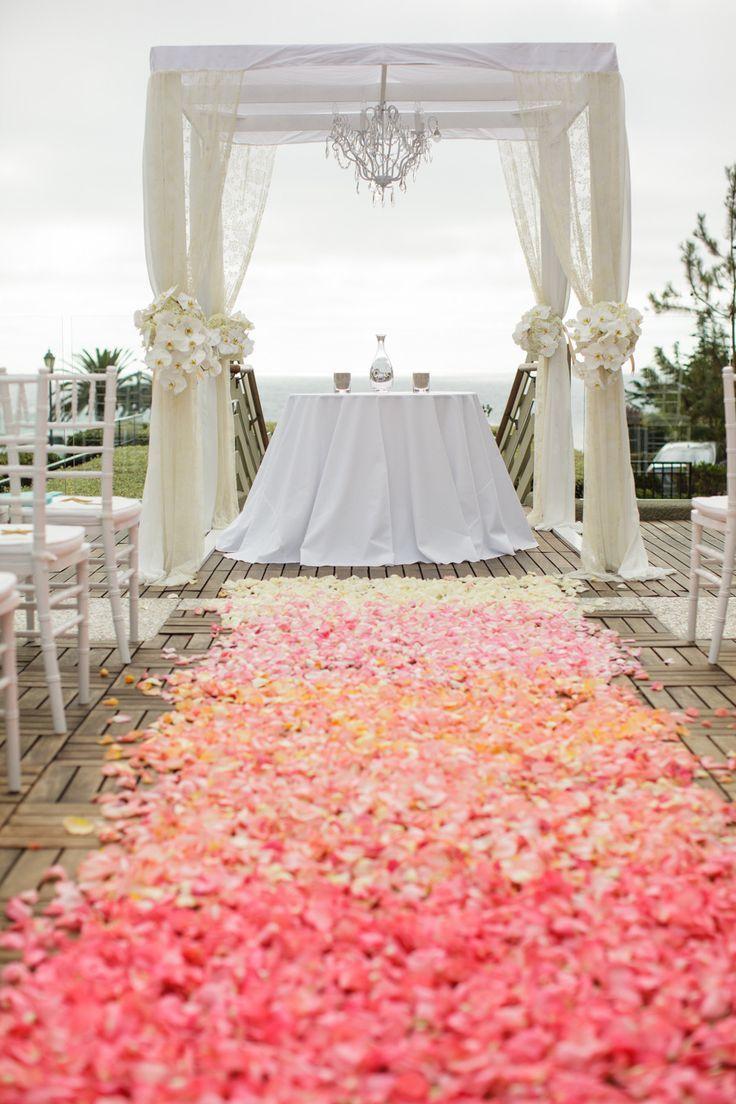 pastel ombre flowers wedding runner