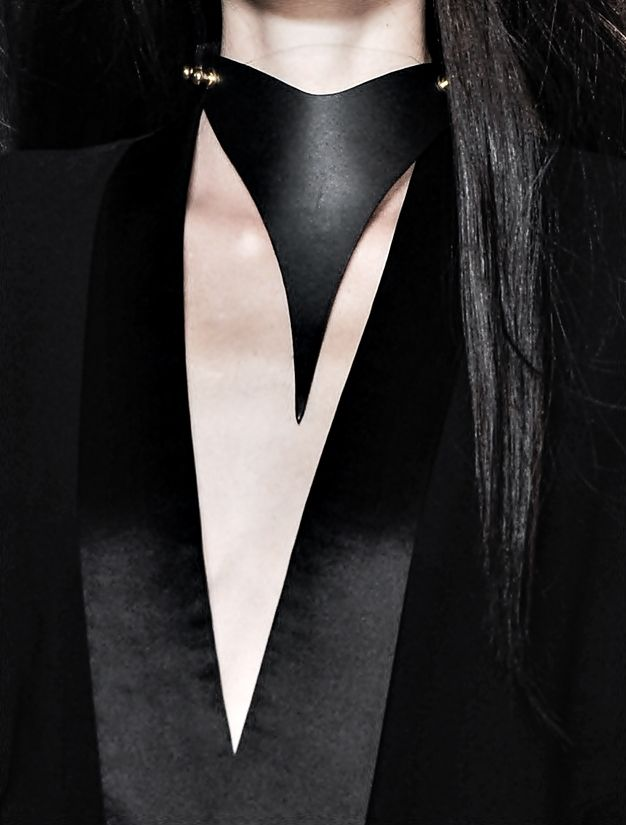 draped point leather collar